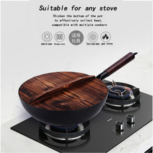 Chinese Traditional Iron Wok Handmade Large Carbon Steel Wok Non-stick Wok Gas Cooker Pan Kitchen Cooker(China)