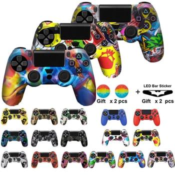 قاب محافظ لاستیکی سیلیکونی نرم 18 رنگ برای کاور محافظ گیم پد PS4 برای کنترل کننده باریک Sony PlayStation 4 Pro Slim camo