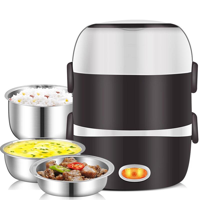 Мини электрическая рисоварка из нержавеющей стали 2/3 слоя Пароварка портативная еда тепловое Отопление Ланч-бокс контейнер для еды теплее