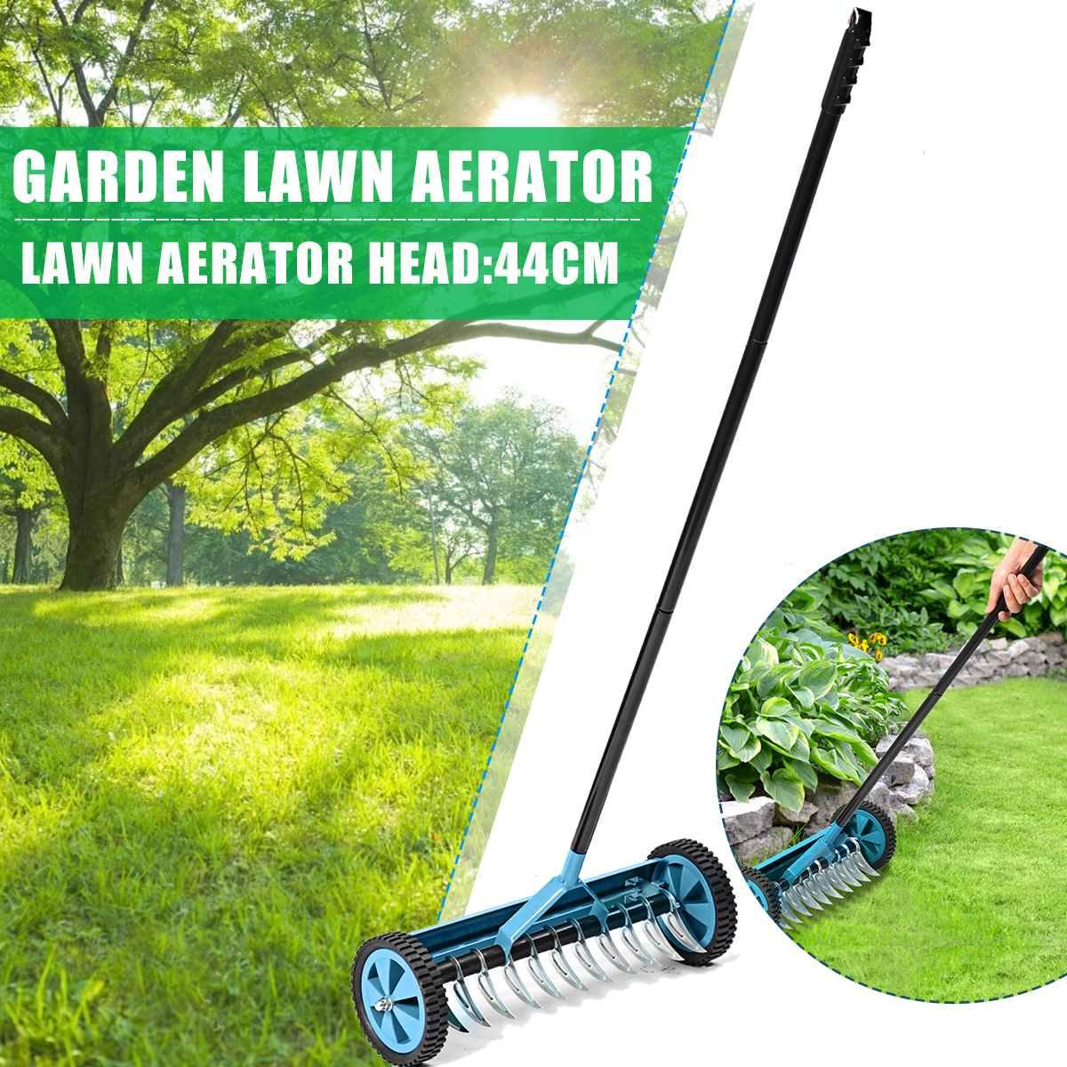 5.7 inch Heavy Duty Rolling Grass Lawn Garden Aerator Roller Yard Grass Cultivator Scarification Push Spike Aerator Rolling Lawn