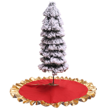 1Pc Christmas Tree Skirt Golden Edge Ornament 90x90cm Red Decorations New Year Home Decor