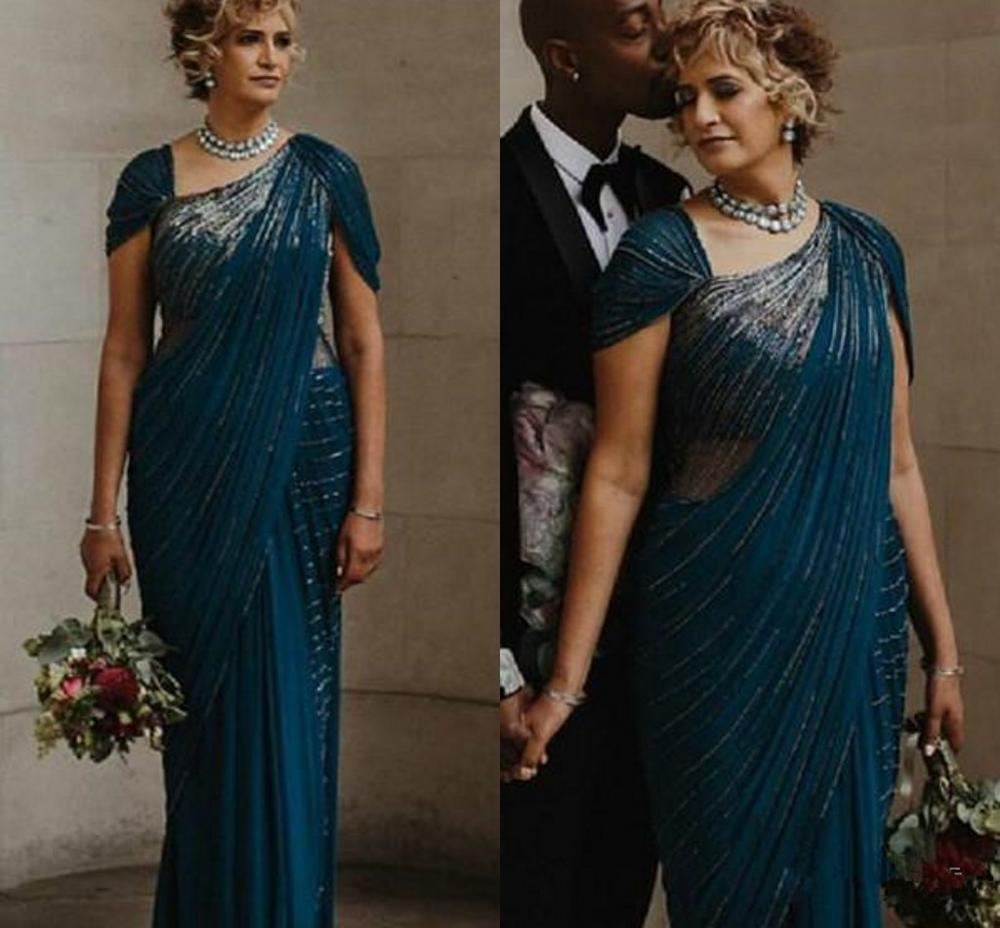 Arabic Teal Blue Luxurious Mother Of Bride Dresses Cap Sleeves Beaded Mother Of Groom Dresses Chiffon Formal Party Evening Gown