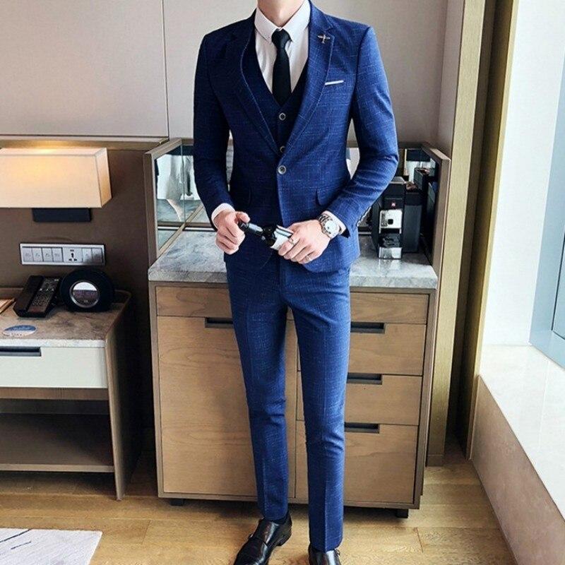Korean Mens Formal Suits Fashion 3pcs Business Man Office Work Slim Fit Blazer Set Plus Size 5XL Groom Vest Wedding Dess Suit