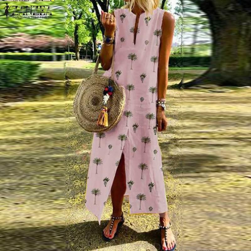ZANZEA 2019 Bohemian Women's Print Sundress Summer Maxi Dress Casual Sleeveless Vestidos Kaftan Female Split Robe Oversized 5XL