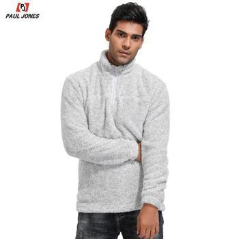 Pullover de lana de PAUL JONES para hombre, sudadera de manga larga con cuello alto y cremallera 1/4 jerseys de oso de peluche gris PJA02005