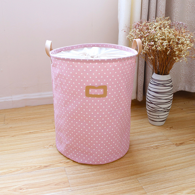 Waterproof Laundry Hamper Bag Colorful Clothes Storage Baskets Home Clothes Barrel Kids Toy Storage Laundry Basket Pink