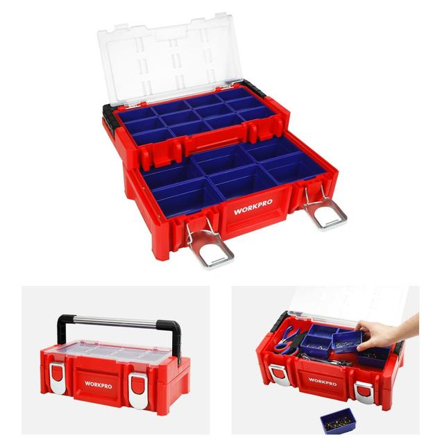 WORKPRO 17-inch Plastic Tool Box 18 Adjustable Compartments Red Storage Box with Locking Lid and Stainless Steel Handle 2