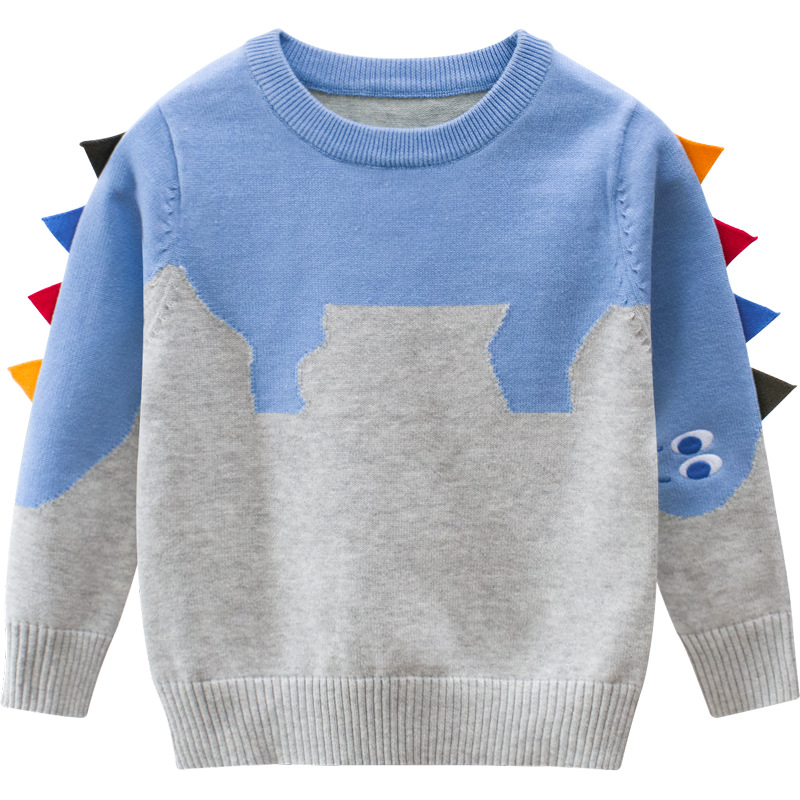 27kids Dinosaur Pattern Boys Knitted Sweater For Toddler Boy Kids Casual Spring Cartoon Warm Cotton Boys Sweaters Pullovers 2