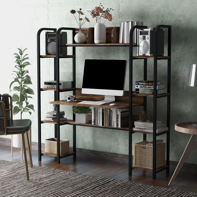 Home Office Computer Desk With Double Bookcase  2