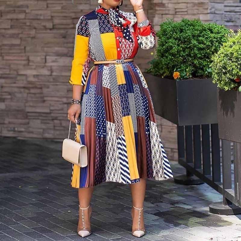 משרד גבירותיי עבודה ללבוש קשת צווארון הדפסת אונליין צבע בלוק שמלה מקרית Fit ואבוקת קפלים שמלת 2020 קיץ נשים אופנה