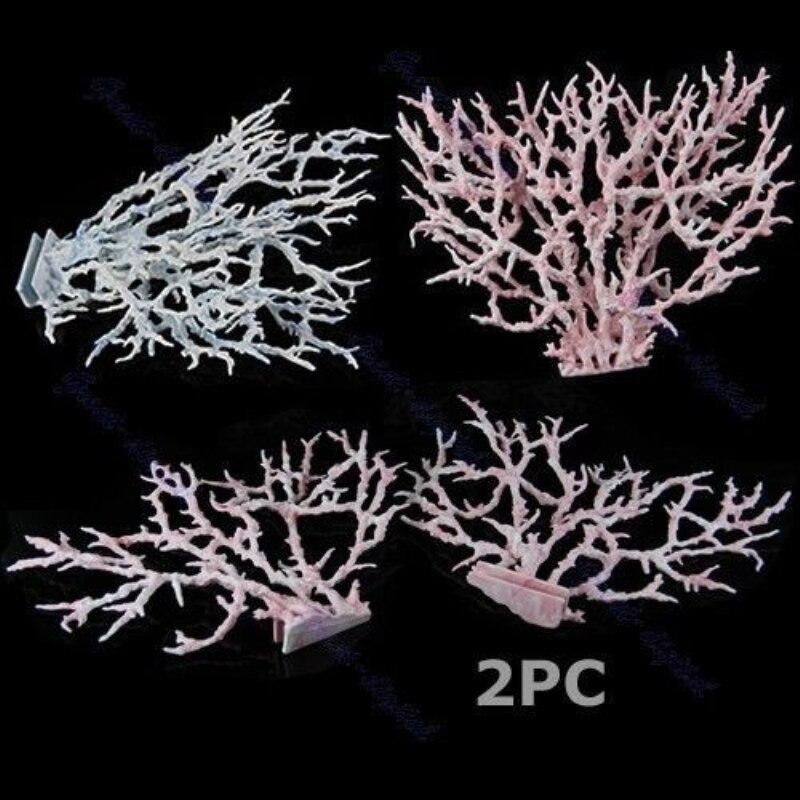 2PC Aquarium Faux artificiel Aquarium récif corail décoration ornements