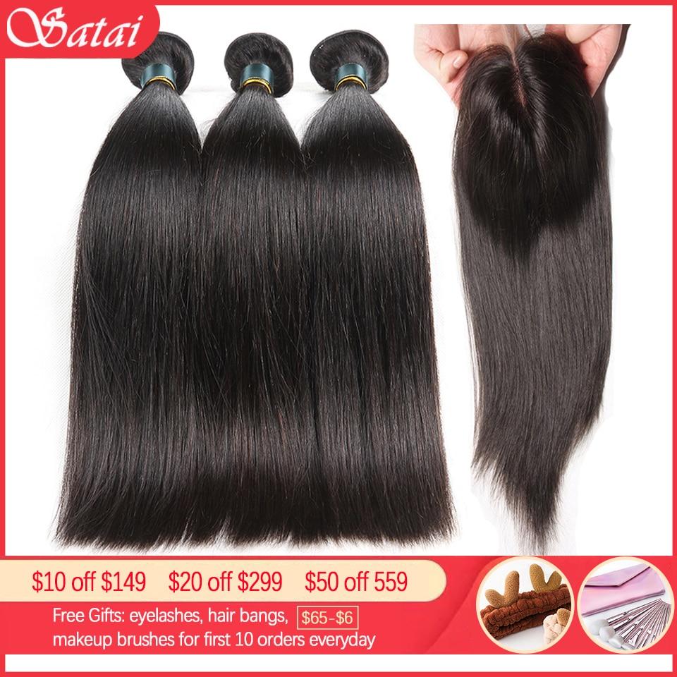 Satai Straight Hair Bundles With Closure Brazilian Hair Weave Bundles 8-40 Inch Human Hair Bundles With Closure Hair Extension