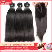 Satai Straight Hair Bundles With Closure Brazilian Hair Weave Bundles 8 40 Inch Human Hair Bundles With Closure Hair Extension