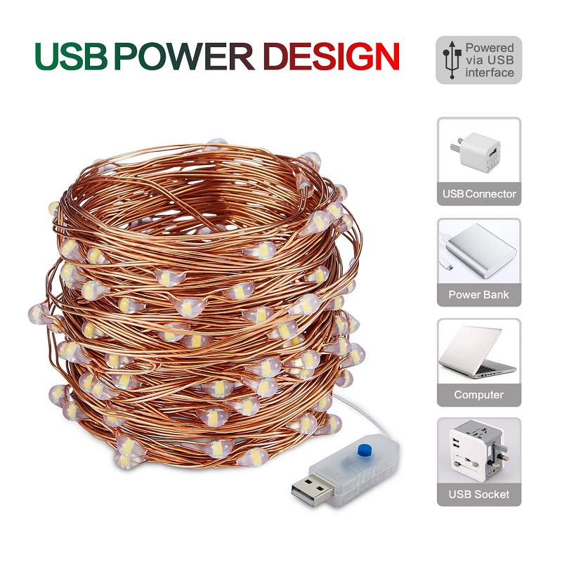 LED String Lights 2M 3M 4M 5M 10M Waterproof Copper Wire Home Christmas Wedding Decoration Powered By USB Powered 8 Modes