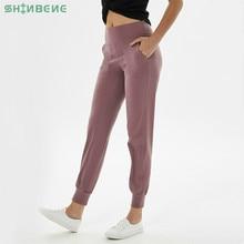 Shinbene cintura alta squatproof fitness joggers calças de yoga feminino elástico correndo workout esporte calças com dois bolsos laterais