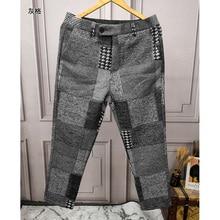 Retro stitching plaid fashion Men's woolen casual pants men'