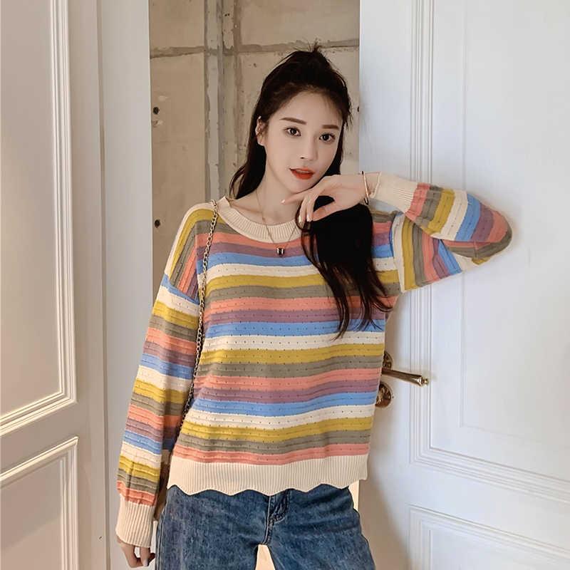 Mùa Đông Sọc Dệt Kim Nữ Áo Len Dài Tay Và Cổ Tròn Cổ Áo Thun Sueter Mujer Cao Cấp Hàn Quốc Kawaii Rainbow Dây Nhảy
