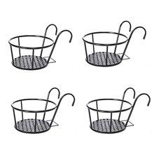 Holder Planters Flower-Pot Over-The-Rail Hanging Metal Black Art Baskets Fence Emble