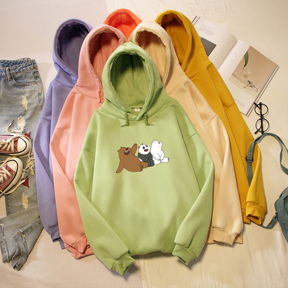 Three Bears Print Kawaii Harajuku Sweatshirt Warm Streetwear Oversize Hoodies Women Korean Style Cute For Girls Long Sleeve