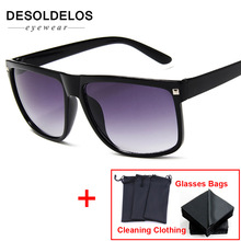 2019 New Fashion Vintage Flat Top Sunglasses Women Brand Des