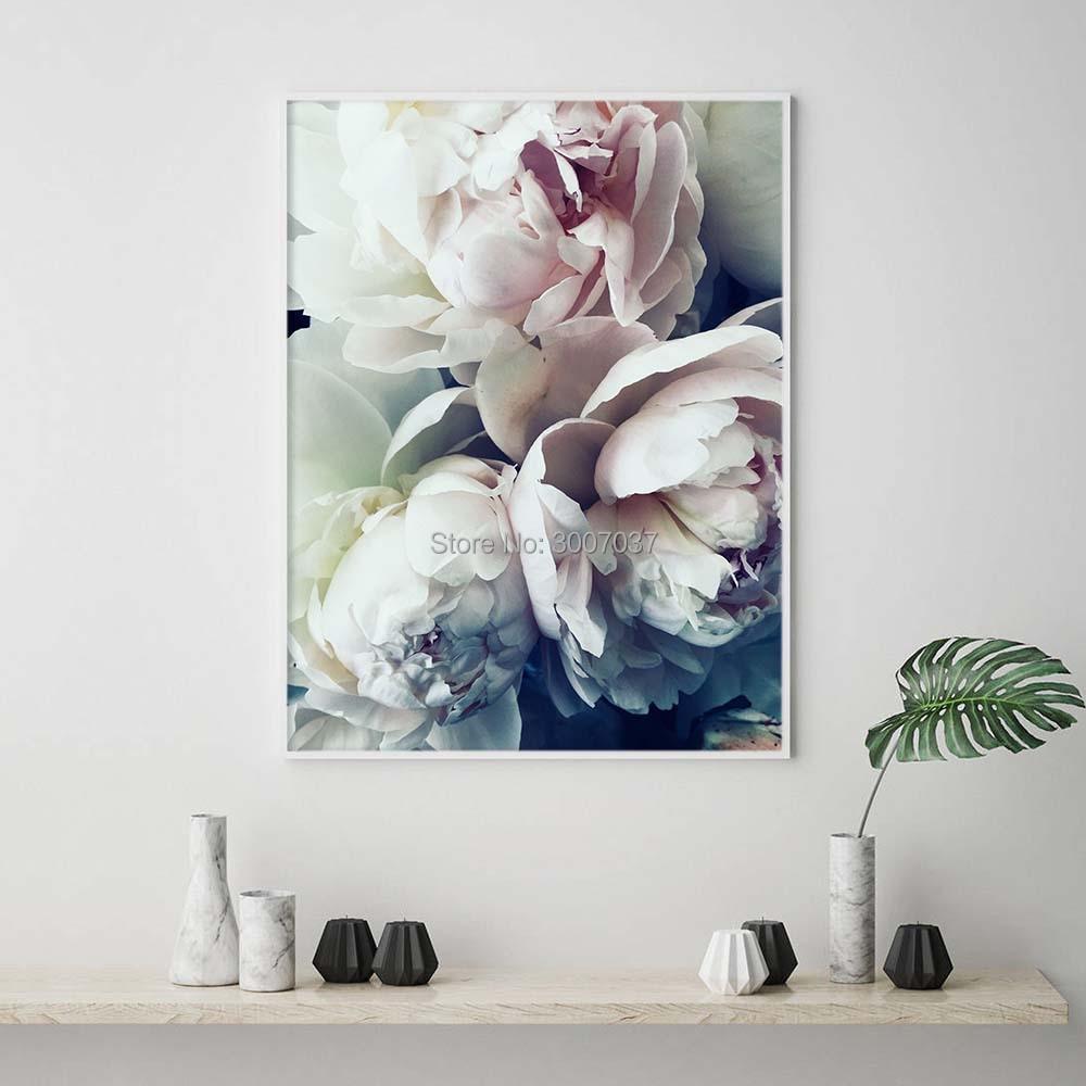 Hand Geschilderde Decoratie Abstract Bloom Pioen Nordic Wall Art Olieverf Bloem Canvas Schilderij Foto voor Woonkamer Decor