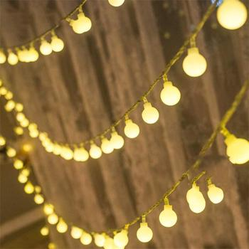 USB/Battery Power LED Ball Garland Lights Fairy String Waterproof Outdoor Lamp Christmas Holiday Wedding Party Lights Decoration usb battery led snowflake garland lights fairy string waterproof outdoor lamp christmas holiday wedding party lights decoration