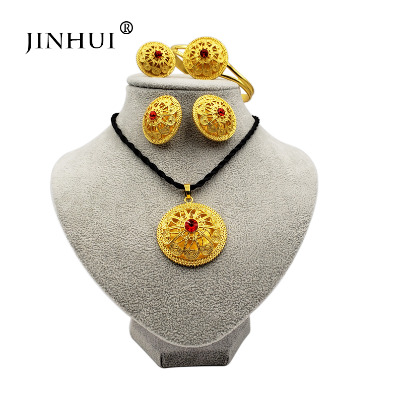 Jin Hui <font><b>2019</b></font> Ethiopian <font><b>jewelry</b></font> <font><b>sets</b></font> red stone Pendant Necklace Earring Ring Gold gifts <font><b>for</b></font> women African Eritrea wedding <font><b>jewelry</b></font> image