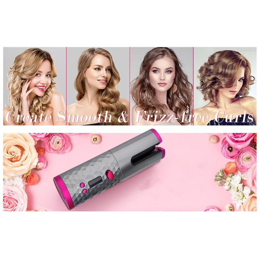 USB Automatic Intelligent Cordless Hair Curler iron wireless Curling Iron Rechargeable Air Curler LCD Display Ceramic Curly tool