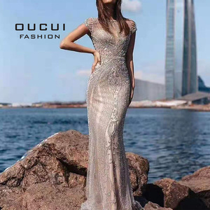 Image 2 - を oucui ドバイビーズのウェディングドレスセクシーな高級ダイヤモンドノースリーブヌードマーメイドロングイブニングドレスフォーマルドレスローブ · デ · ソワレ OL103466