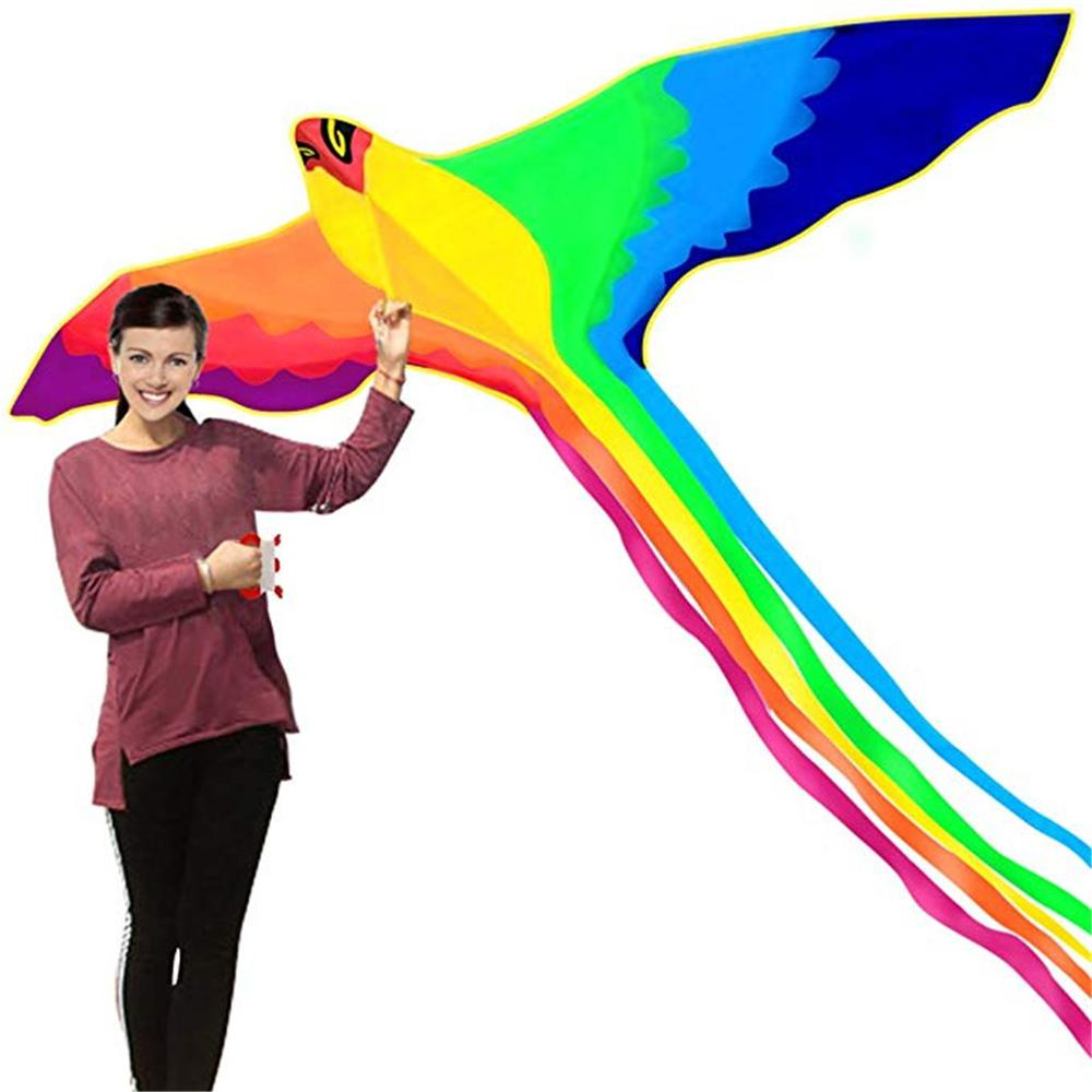 Phoenix Kite With Long Colorful Tail With Handle Line Outdoor Fun Kids Toy