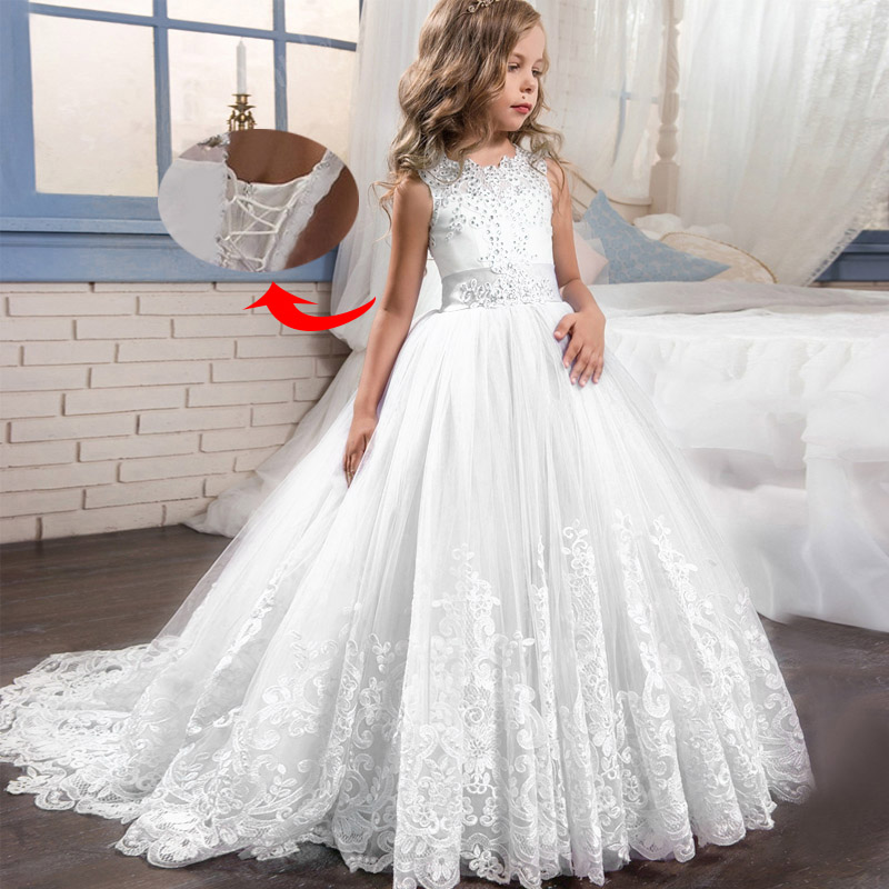 Flower Girl Party Romantic Wedding Bridesmaid's Tail Dress Girl's Birthday Party Graduation Party First Eucharist Dress