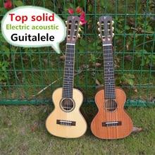 Mahogany Ukulele Guitarra 28inch Electric Solid Acoustic 6-String Spruce Top Acacia Sapele