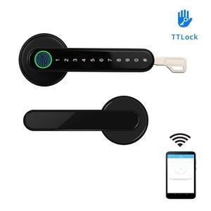 TTLock APP Smart WiFi remote control Fingerprint Lock biometrics password code Door Lock with mechanical key(China)