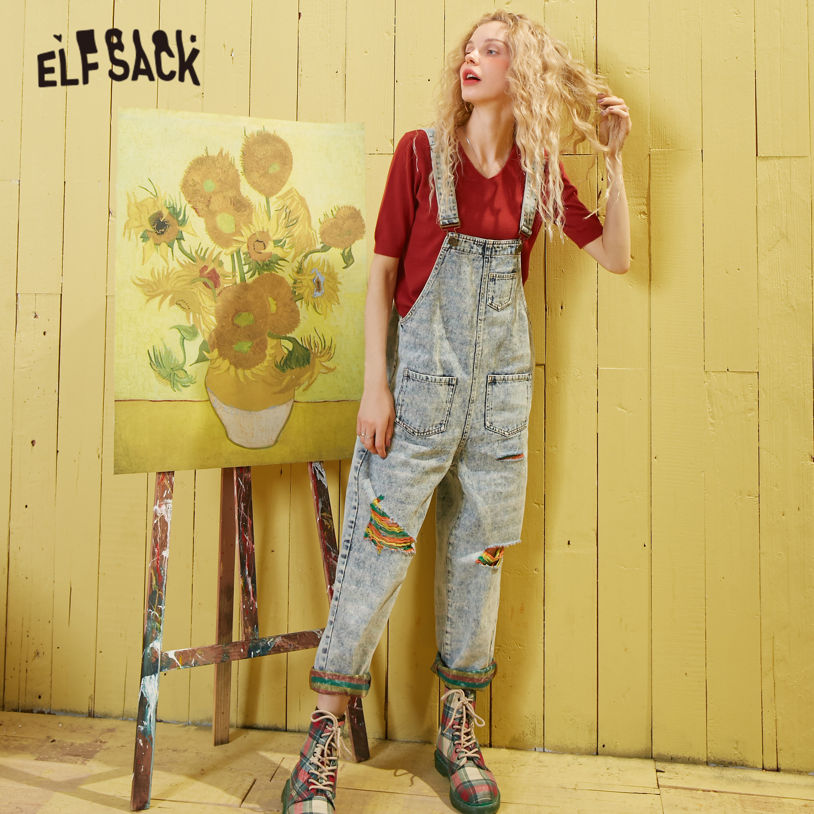 ELFSACK Blue Colorful Ripped Washed Loose Casual Overall Jeans Women 2020 Spring Pocket Korean Ladies Jumpsuit Straight Pants