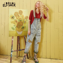 ELFSACK Blue Colorful Ripped Washed Loose Casual Overall Jea