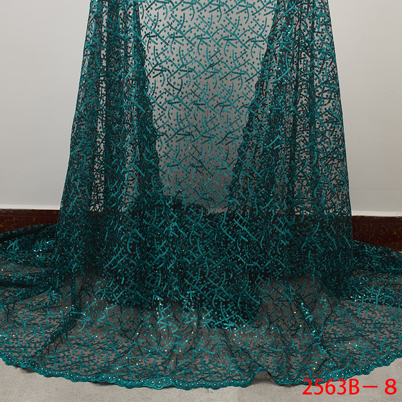 Nigerian African Lace Fabric Sequins Lace Fabric Embroidered 2019 Net Laces Fabric Bridal High Quality French Tulle YA2563B-8