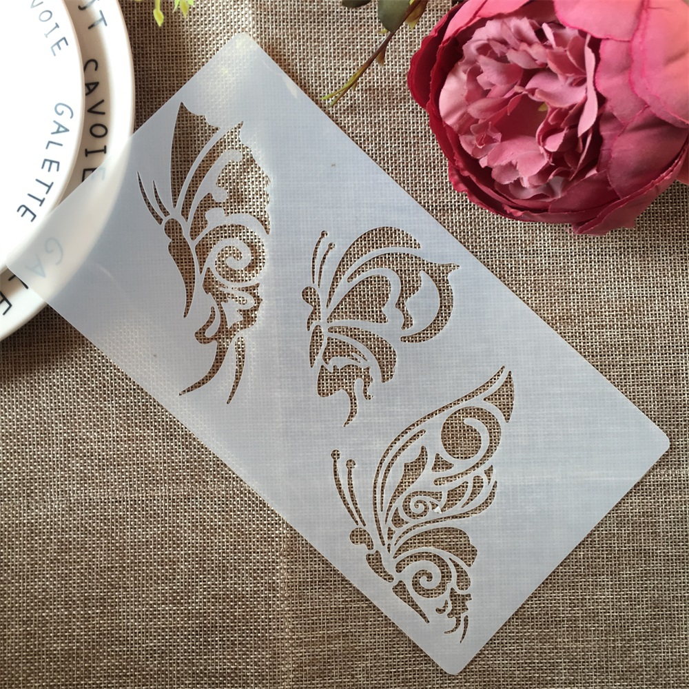 1PCs 22*12cm Three Butterflies DIY Craft Layering Stencils Painting Scrapbooking Stamping Embossing Album Paper Card Template