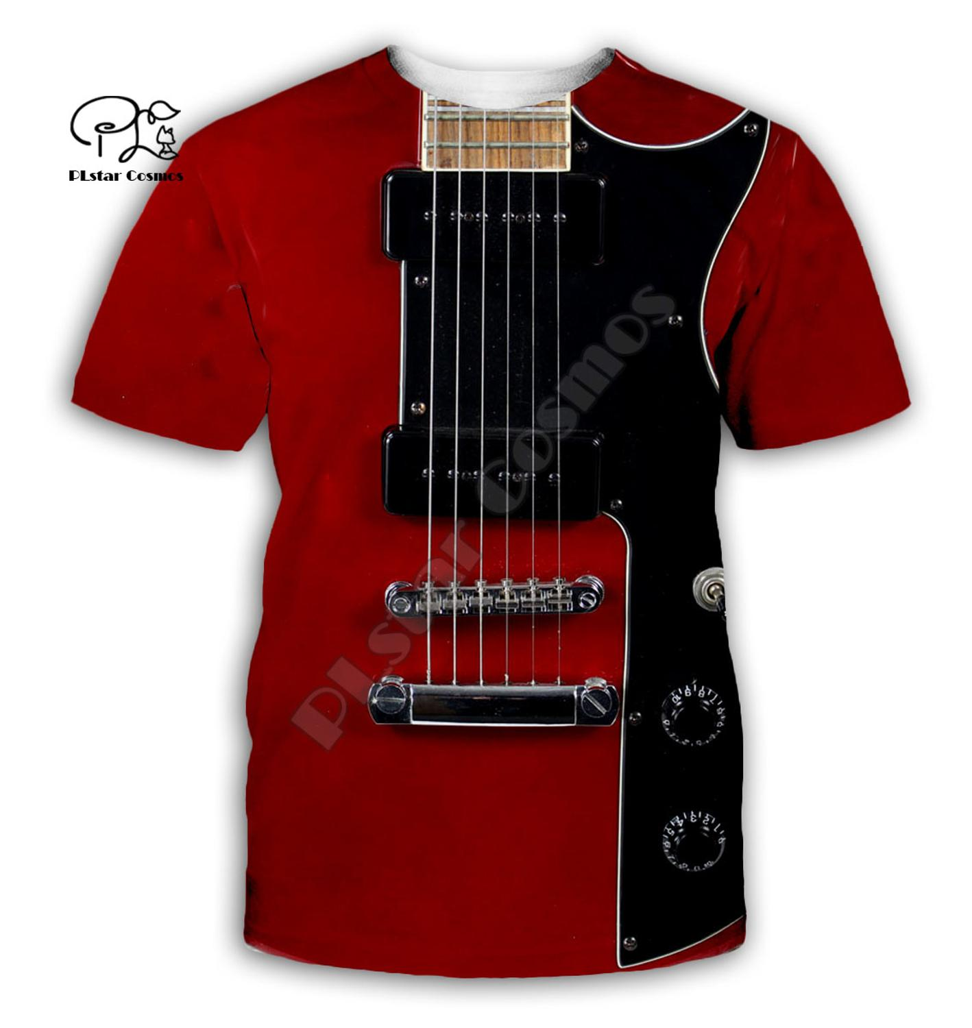 Guitar art Musical instrument 3D full printing fashion t shirt Unisex hip hop style tshirt streetwear casual summer style-3