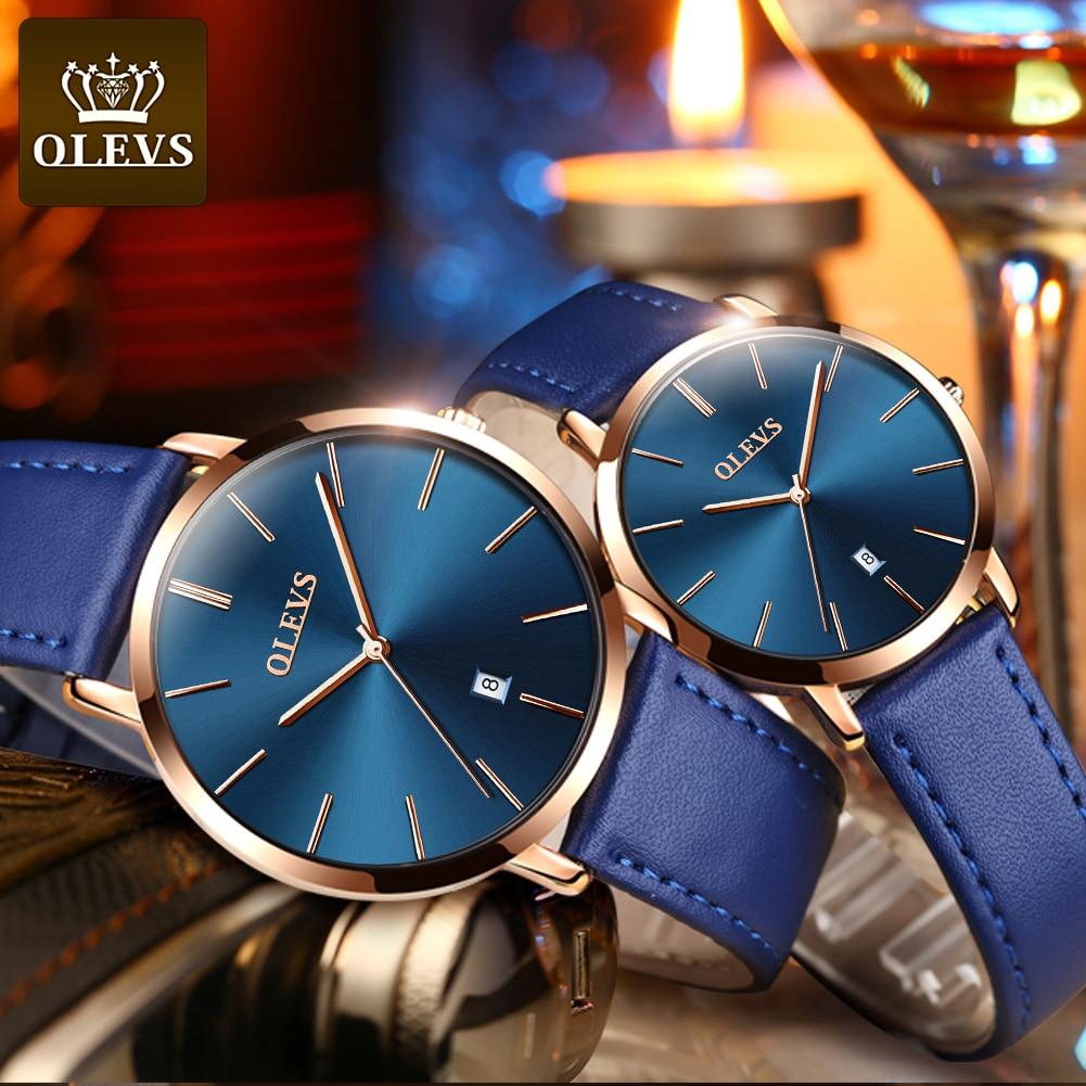 Fashion Couple Watches OLEVS Popular Casual Quartz Women Men Watch Lover's Gift Clock Boys Girls Ultra thin Leather Wristwatch(China)