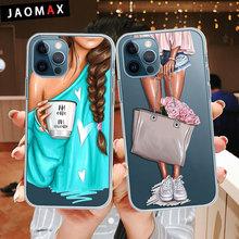 Moda dziewczyna miękki silikonowy futerał na telefon dla iPhone 12 mini 11 Pro XS Max XR 6S 7 8 Plus przezroczysty TPU tylna okładka tanie tanio JAOMAX CN (pochodzenie) Pół-owinięte Przypadku illustration Pattern Apple iphone ów Iphone 6 Iphone 6 plus IPHONE 6S