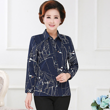 Middle Aged Women Casual Shirt Navy Blue Khaki Printing Pattern Turn Down Collar Long Sleeve Button Front Top Plus Size Clothes pyjamas women plus size woman clothes korean women long sleeve long pants cartoon printing front pocket turn down collar bow