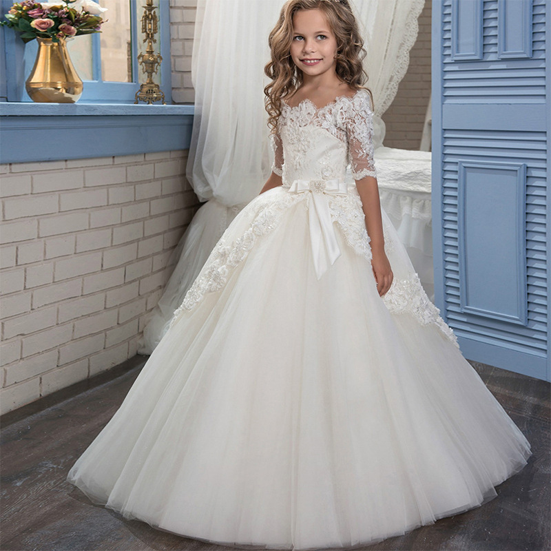 CHILDREN'S Dress White Princess Skirt Winter Girls Piano Costume Puffy Yarn Performance Wear Long Sleeve Wedding Dress Flower CH