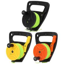 46m 150FT Scuba Diving Reel Spool Finger Line Retractable Reels with handle Stopper for Snorkeling Underwater Water Sports Gear