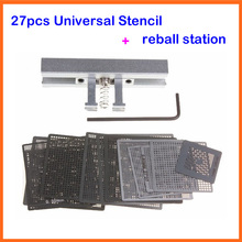 цена на 27pcs BGA Directly Heat Rework Reballing Universal Stencil Template + BGA Reballing Kit Station