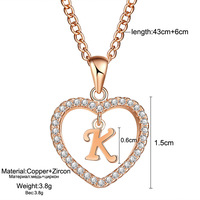 Womens Jewelry Name Initials Heart Pendant Necklace 26 Letters Zircon Love Necklaces Girls Gifts the First Letter Accessories 4