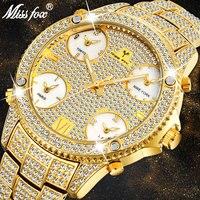 MISSFOX 51mm 대형 대형 다이얼 럭셔리 시계 남자 다이아몬드 악센트 케이스 5 석영 movt 아날로그 남성 골드 비즈니스 손목 시계