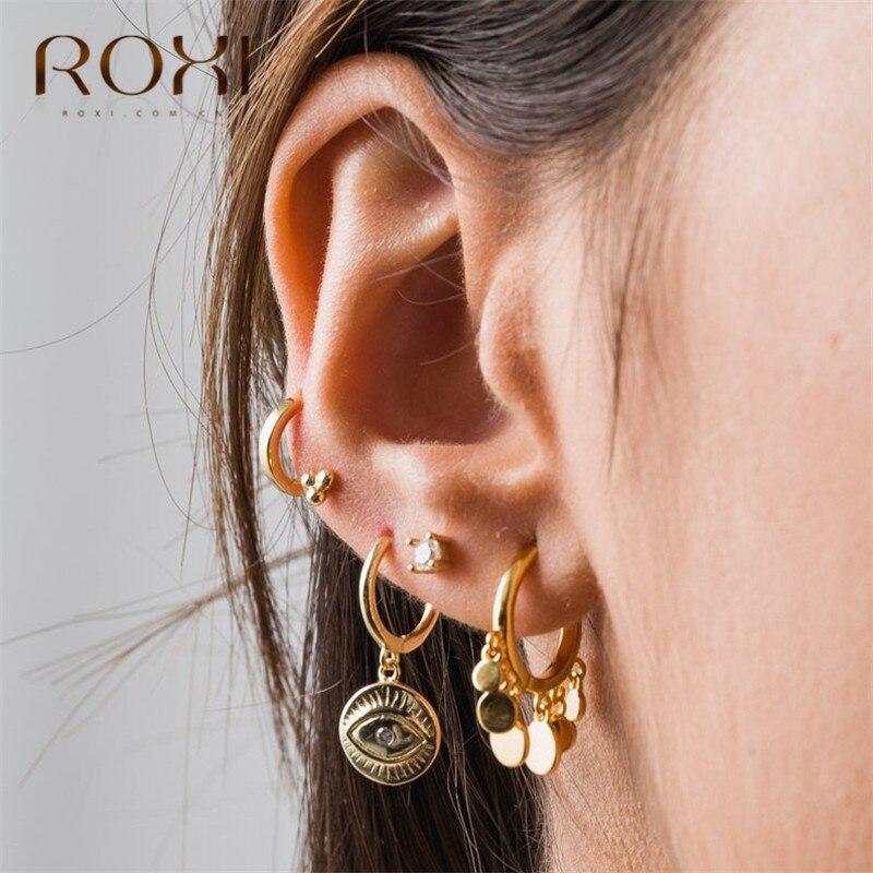 ROXI 2019 Neue Trendy Runde Disc Quaste Ohrringe Für Frauen 925 Sterling Silber Ohrringe ohrringe pendientes Kleine Stud Ohrringe