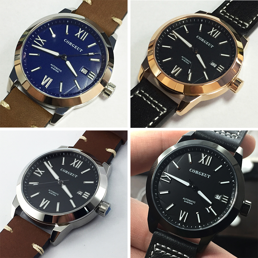 Corgeut 2020 New 41mm Luminous top Mens watches Rose Gold steel case black dial date automatic movement Business men watch