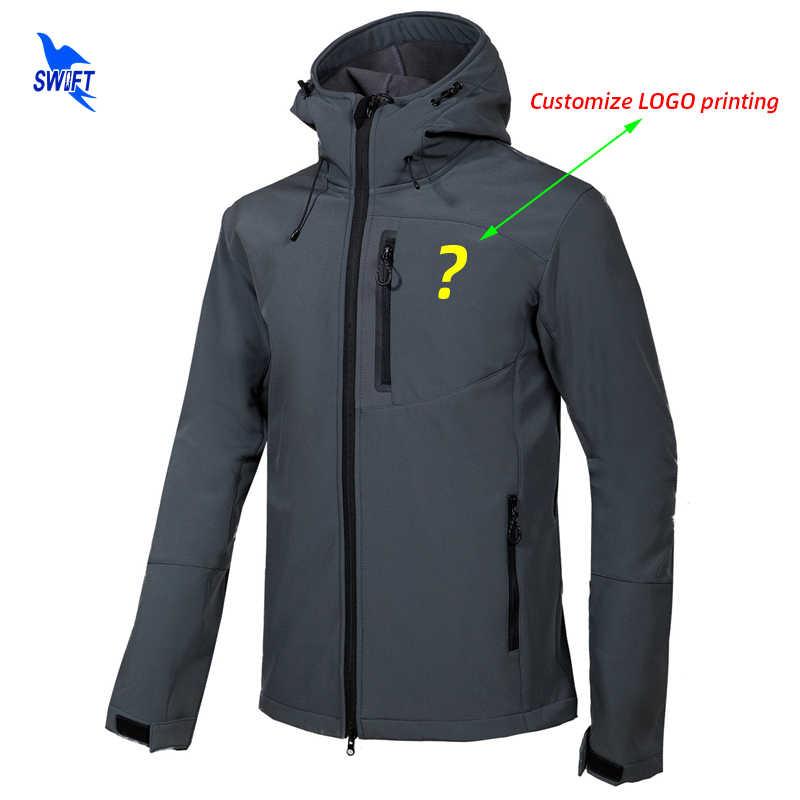 Dostosuj LOGO kurtka typu Softshell mężczyźni z kapturem wodoodporny termiczny polar odzież górska na zewnątrz narciarstwo Trekking Camping odzież narciarska