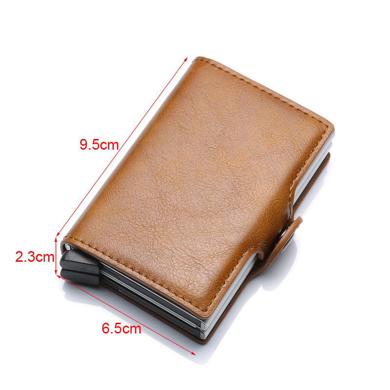 DIENQI Aluminium Rfid Wallet Male Big Coin Purse Men Leather Double Personalized Wallet Pocket Money Bag Credit Card Cases 2020
